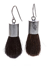 Black Brush Earrings by Kristin Lora (Silver Earrings)