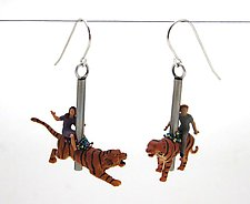 Tiger Carousel Earrings by Kristin Lora (Silver Earrings)