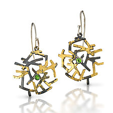 Astro Earrings with Chrome Diopside by Lori Gottlieb (Gold, Silver, & Stone Earrings)