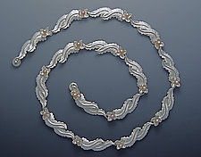Overlapping Leaf Necklace by Ellen Vontillius (Silver & Pearl Necklace)