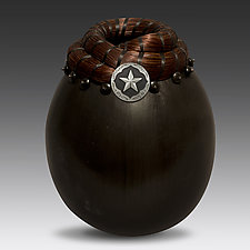 Saddle Concho Vessel with Star by Valerie Seaberg (Ceramic Vessel)