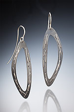 Single Sew Weave Oxidized Earring by Suzanne Schwartz (Silver Earrings)