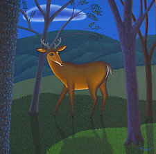 Night Deer by Jane Troup (Oil Painting)