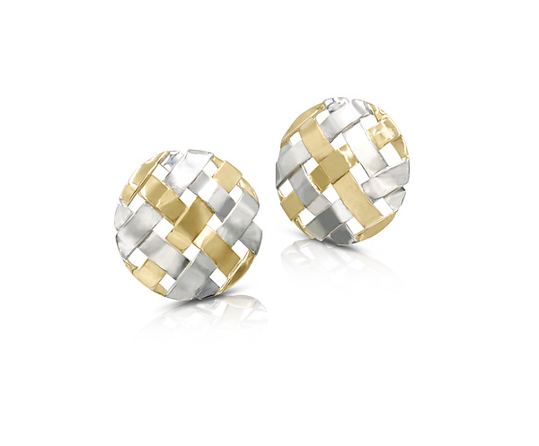 Small 18K on Sterling Hand-Woven Circle Earrings