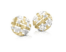 Large 18K on Sterling Hand-Woven Circle Earrings by Gabriel Ofiesh (Gold & Silver Earrings)