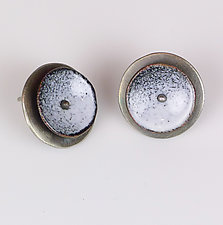 Black and White Concave Circles by Beth Novak (Enameled Earrings)