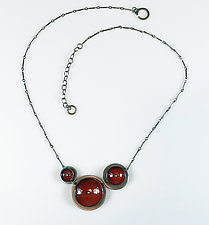 Red & Black Concave Choker by Beth Novak (Enameled Necklace)