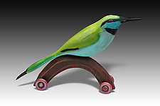 Little Green Bee Eater by Dona Dalton (Wood Sculpture)