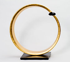 Golden Circle with Stone by Cheryl Williams (Ceramic Sculpture)