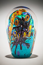 Beach Club Dome Paperweight by David Lindsay (Art Glass Paperweight)