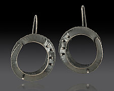 Large Black Orbit Drop Earriings by Lisa D'Agostino (Silver Earrings)