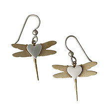 Dragonfly Earrings by Thomas Mann (Silver & Brass Earrings)