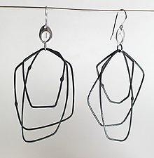 Cosmos Earring #12 by Jennifer Bauser (Silver Earrings)