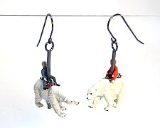 Polar Bear Carousel Earrings by Kristin Lora (Silver Earrings)