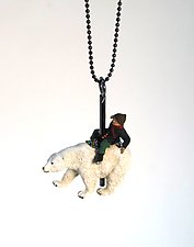 Polar Bear Carousel Necklace by Kristin Lora (Silver Necklace)