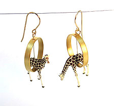 Giraffes in Gold Circles by Kristin Lora (Gold & Silver Earrings)