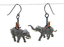 Carousel Elephant Earrings by Kristin Lora (Silver Earrings)