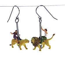 Carousel Lion Earrings by Kristin Lora (Silver Earrings)