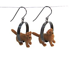 Golden Dog Earrings by Kristin Lora (Silver Earrings)
