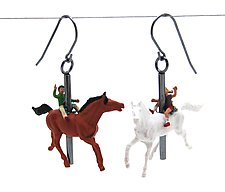 Carousel Horse Earrings by Kristin Lora (Silver Earrings)