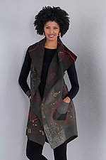 Ombre Patched Gold Stamp Vest - Gray by Mieko Mintz  (Cotton Vest)