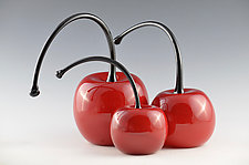 Bent Stem Cherries by Donald  Carlson (Art Glass Sculpture)