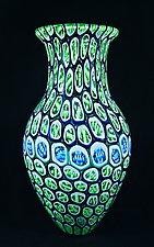 Large Banded Murrini Vase by Michael Egan (Art Glass Vase)