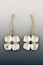 Four Petal Flower Earrings by Barbara Bayne (Silver & Pearl Earrings)