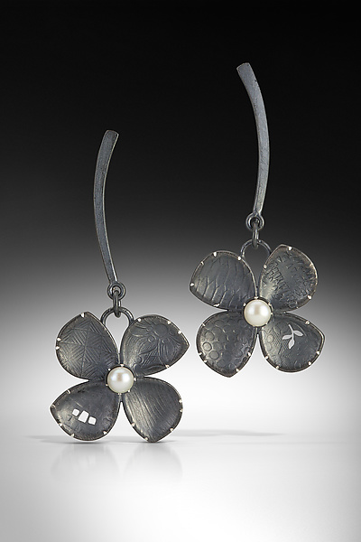 Rounded Four Petal Flower Earrings