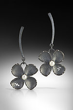 Rounded Four Petal Flower Earrings by Barbara Bayne (Silver & Pearl Earrings)