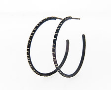 Medium Oxidized Silver Hoop Earrings by Barbara Bayne (Silver Earrings)