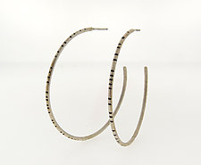 Large Sterling Silver Hoop Earrings by Barbara Bayne (Silver Earrings)