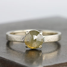 White Gold Ring with Green Rose Cut Diamond by Sarah Hood (Gold & Stone Ring)