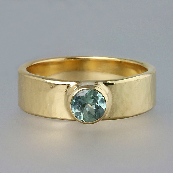 Yellow Gold Artifact Ring with Blue Sapphire