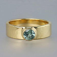 Yellow Gold Artifact Ring with Blue Sapphire by Sarah Hood (Gold & Stone Ring)