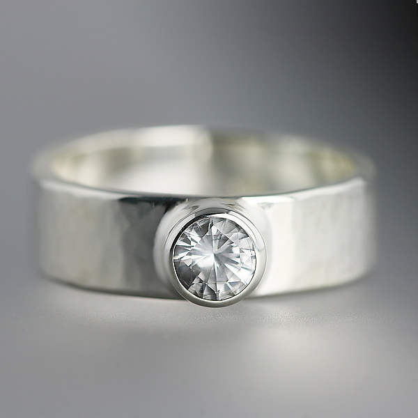 Sterling Silver Artifact Ring with White Sapphire