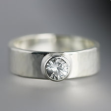 Sterling Silver Artifact Ring with White Sapphire by Sarah Hood (Silver & Stone Ring)