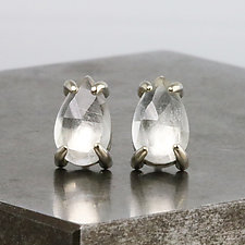 White Topaz Pear Stud Earrings by Sarah Hood (Gold & Stone Earrings)