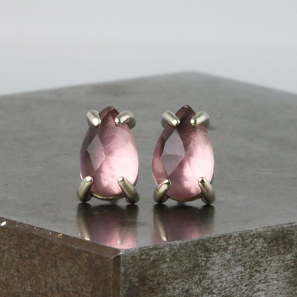 Amethyst Pear Stud Earrings