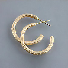 Yellow Gold Twig Hoop Earrings by Sarah Hood (Gold Earrings)