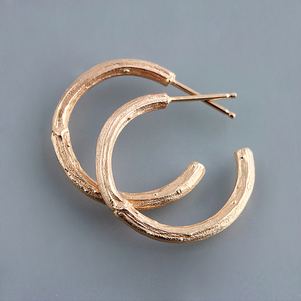 Rose Gold Twig Hoop Earrings