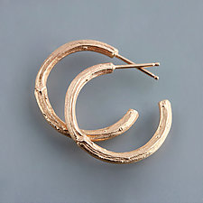 Rose Gold Twig Hoop Earrings by Sarah Hood (Gold Earrings)