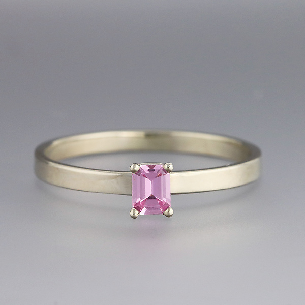 White Gold and Pink Sapphire Ring