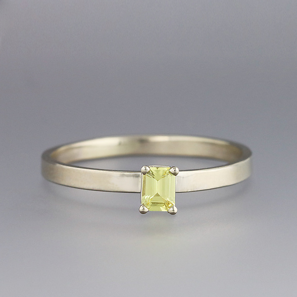 White Gold and Yellow Sapphire Ring