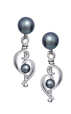 Transition Dangle Post Earrings by Martha Seely (Silver & Pearl Earrings)