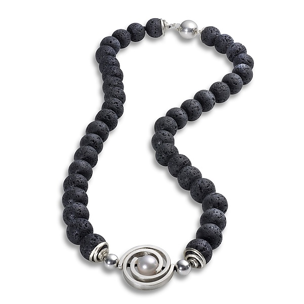Lava Bead Necklace with Medium Spiral