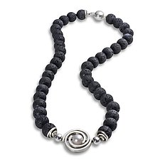 Lava Bead Necklace with Medium Spiral by Martha Seely (Silver, Pearl & Stone Necklace)