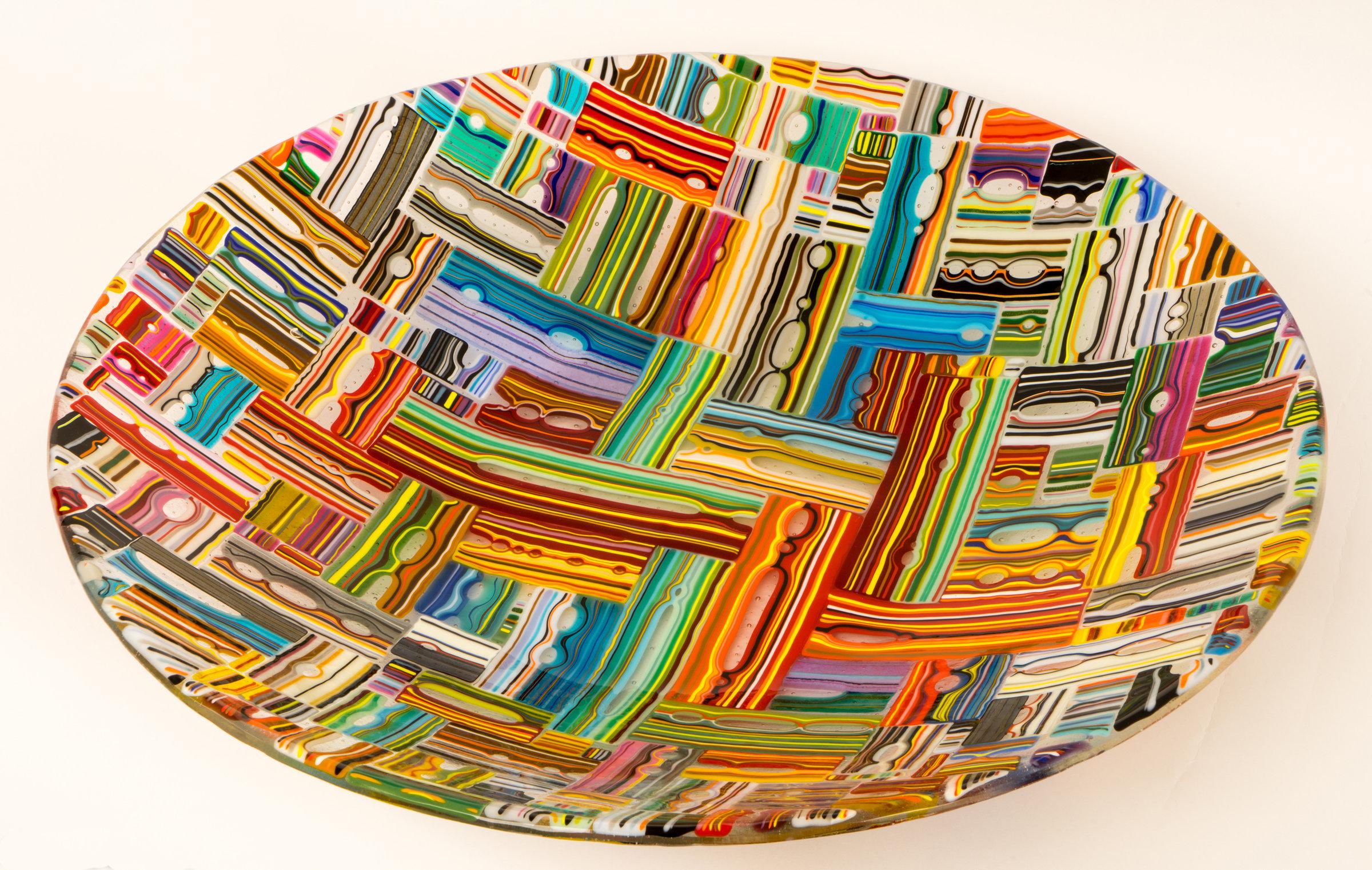 Black & Gold Peacock Vase by Mark Rosenbaum (Art Glass