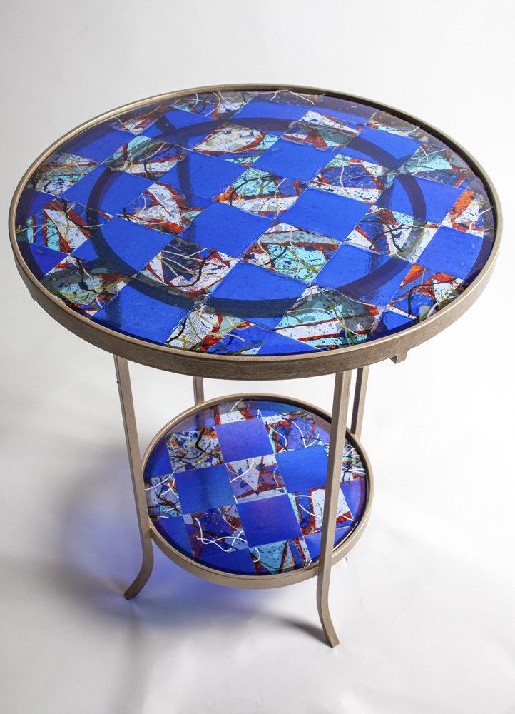 Blue Art Glass Table By Varda Avnisan Art Glass Side