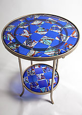 Blue Art Glass Table by Varda Avnisan (Art Glass Side Table)